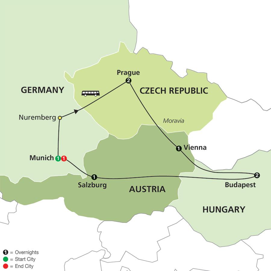 prague vienna budapest map Prague Vienna And Budapest Tour prague vienna budapest map
