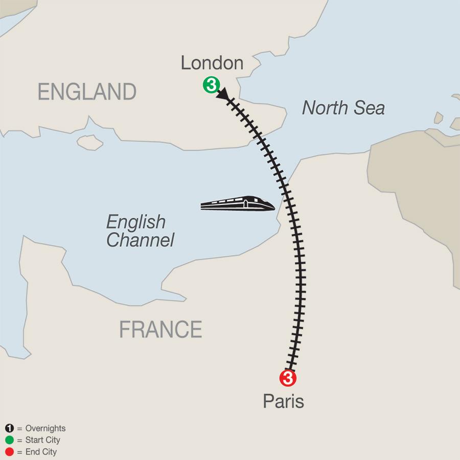 London and paris 7 day tour london paris map publicscrutiny Image collections